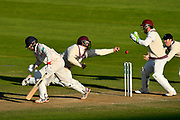 Marcus Trescothick of Somerset is unable to reach a catching chance from batsman Tom Bailey of Lancashire during the Specsavers County Champ Div 1 match between Somerset County Cricket Club and Lancashire County Cricket Club at the Cooper Associates County Ground, Taunton, United Kingdom on 14 September 2017. Photo by Graham Hunt.