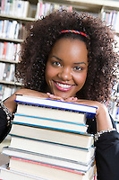 Female University student in library, portrait