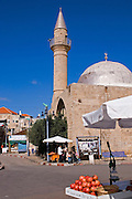 Israel, Acre, a steeple of a mosque in the old city of Acre