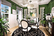 Interior Decorated Model Home Dining Room With Wainscoting Panelling
