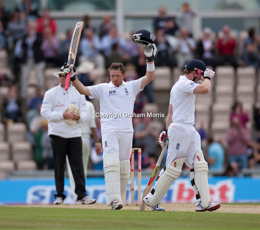Ian Bell celebrates his century during the third npower Test Match between England and Sri Lanka at the Rose Bowl, Southampton.  Photo: Graham Morris (Tel: +44(0)20 8969 4192 Email: sales@cricketpix.com) 19/06/11