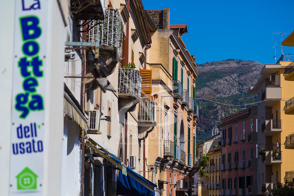 Sorrento, Italy, September 17 2017.Mountains loom over traditional Italian architecture in Sorrento, Italy. © Paul Davey