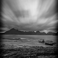 The view from Elgol beach, Isle of Skye, towards the Cuillin.  Long exposure