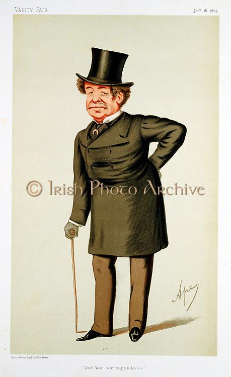 Howard Russell (1820-1907) Irish-born British journalist. War correspondent for 'The Times' (Crimean War) and 'The Daily Telegraph' (Zulu War). 'Ape' (Carlo Pellegrini) cartoon from 'Vanity Fair', London, 16 January 1875.