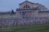 Over 3000 flags memorializing 9/11 victims carpet Art Hill below the St. Louis Art Museum in Forest Park on tenth anniversary of the terrorist attacks; St. Louis, Missouri.