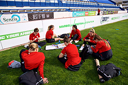 MARBELLA, SPAIN - Tuesday, March 5, 2019: Wales players relax after an international friendly match between Wales and Republic of Ireland at the Estadio Municipal de Marbella. (Pic by David Rawcliffe/Propaganda)