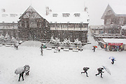 People reacts to a blizzard at the town hall of Shimla, Himachal Pradesh