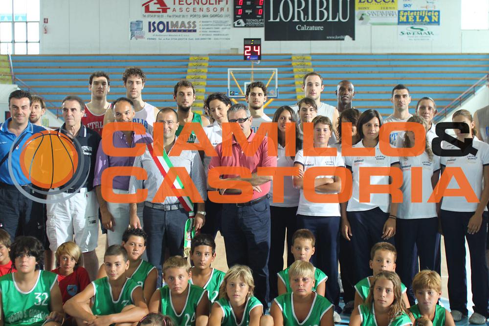 DESCRIZIONE : Porto San Giorgio Eurobasket Men 2009 Additional Qualifying Round Italia Finlandia<br /> GIOCATORE : Dino Meneghin Carlo Recalcati Andrea Agostini<br /> SQUADRA : Italia Italy Nazionale Italiana Maschile<br /> EVENTO : Eurobasket Men 2009 Additional Qualifying Round <br /> GARA : Italia Finlandia Italy Finland<br /> DATA : 20/08/2009 <br /> CATEGORIA :  innaugurazione parquet sindaco <br /> SPORT : Pallacanestro <br /> AUTORE : Agenzia Ciamillo-Castoria/F.Zeppilli