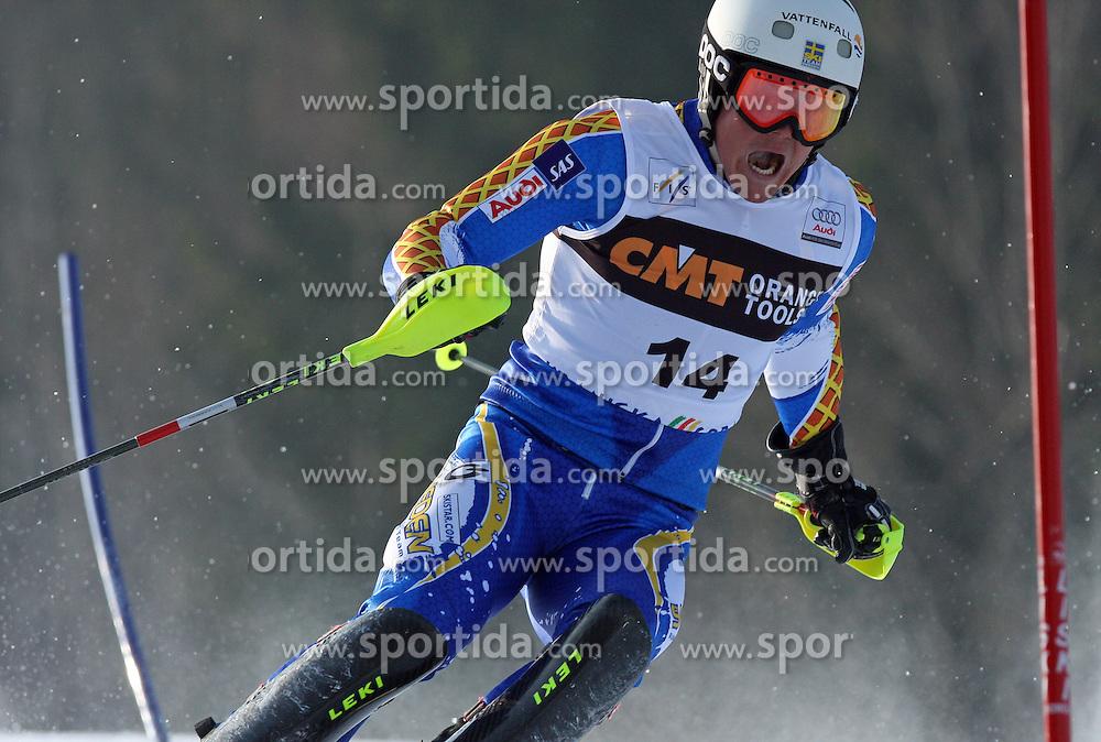 Mattias Hargin at first run of 9th men's slalom race of Audi FIS Ski World Cup, Pokal Vitranc,  in Podkoren, Kranjska Gora, Slovenia, on March 1, 2009. (Photo by Vid Ponikvar / Sportida)
