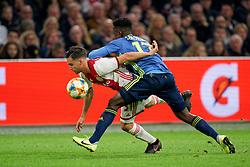 27-10-2019 NED: Ajax - Feyenoord, Amsterdam<br /> Eredivisie Round 11, Ajax win 4-0 / Luis Sinisterra #17 of Feyenoord, Nicolás Tagliafico #31 of Ajax