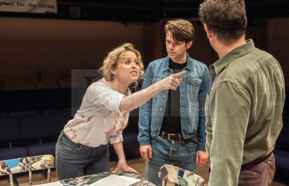 © Licensed to London News Pictures. 05/09/2012. The Orange Tree Theatre, Richmond presents the UK premiere of this enthralling European play by Ana Diosdado. Picture shows: Mia Austen as Susie, James Joyce as Manny and Steven Elder as Juan Photo credit : Tony Nandi/LNP