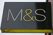 The Marks and Spencer (M & S) sign ouside their flagship store on Oxford Street, London.