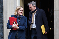 London, UK. 12th February, 2019. Amber Rudd MP, Secretary of State for Work and Pensions, and Damian Hinds MP, Secretary of State for Education, leave 10 Downing Street following a Cabinet meeting.