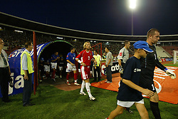 BELGRADE, SERBIA & MONTENEGRO - Wednesday, August 20, 2003: Wales' Robbie Savage walks out to face Serbia & Montenegro before the UEFA European Championship qualifying match at the Red Star Stadium. (Pic by David Rawcliffe/Propaganda)