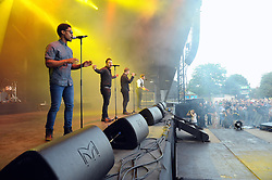 © Licensed to London News Pictures. 16/07/2015<br /> Rochester Castle Concerts,Rochester,Kent<br /> blue singing.<br /> (Byline:Grant Falvey/LNP)