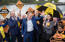 © Licensed to London News Pictures. 01/05/2017. London, UK. Liberal Democrat party leader Tim Farron speaks to supporters flanked by Parliamentary candidates Ed Davey (L), Vince Cable and Sarah Olney (R) - as a day of campaigning begins in Kingston-Upon-Thames. The general election is on June 8th 2017. Photo credit: Peter Macdiarmid/LNP