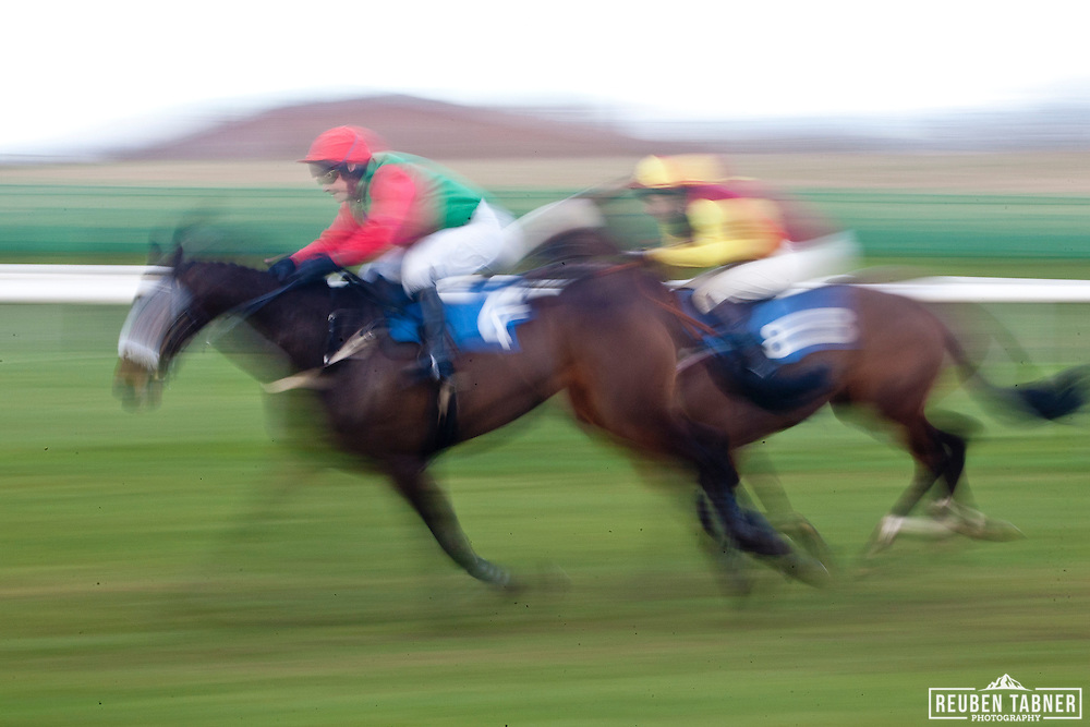 3:50pm Newcastle. ..(Red/Green) Napoletano, ridden by Kenny Johnson..Owner: Mr N.S. Riyait..Trainer: Robert Johnson, Newcastle Upon Tyne. ..(Yellow/Red) stanley Bridge, ridden by Brian Harding..Owner: The Early Doors Partnership. .Trainer: Barry Murtagh, Carlisle.