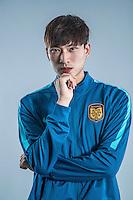 Portrait of Chinese soccer player Huang Jiajun of Jiangsu Suning F.C. for the 2017 Chinese Football Association Super League, in Nanjing city, east China's Jiangsu province, 27 February 2017.