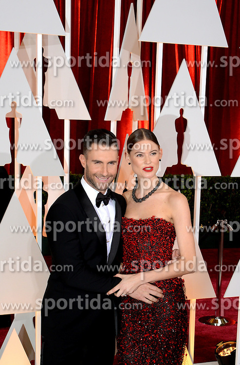 Singer Adam Noah Levine (L) arrives for the red carpet of the 87th Academy Awards at the Dolby Theater in Los Angeles, the United States, on Feb. 22, 2015. EXPA Pictures &copy; 2015, PhotoCredit: EXPA/ Photoshot/ Yang Lei<br /> <br /> *****ATTENTION - for AUT, SLO, CRO, SRB, BIH, MAZ only*****