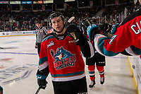 KELOWNA, BC - NOVEMBER 1: Kobe Mohr #25 of the Kelowna Rockets celebrates a second period goal with fist bumps along the bench against the Prince George Cougars  at Prospera Place on November 1, 2019 in Kelowna, Canada. (Photo by Marissa Baecker/Shoot the Breeze)