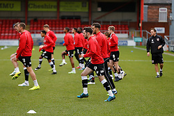Greg Cunningham of Bristol City and his teammates in action during the warm up - Photo mandatory by-line: Rogan Thomson/JMP - 07966 386802 - 20/12/2014 - SPORT - FOOTBALL - Crewe, England - Alexandra Stadium - Crewe Alexandra v Bristol City - Sky Bet League 1.