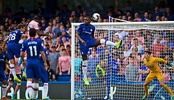 LONDON, ENGLAND - Sunday, August 18, 2019: Leicester City's Wilfred Ndidi (L) scores the first equalising goal during the FA Premier League match between Chelsea's  FC and Leicester City FC at Stamford Bridge. (Pic by David Rawcliffe/Propaganda)