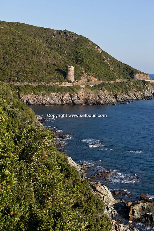 Corsica. France. Losse genoese Towerin Cap Corse, Corsica North, France / Losse , tour genoise du cap Corse