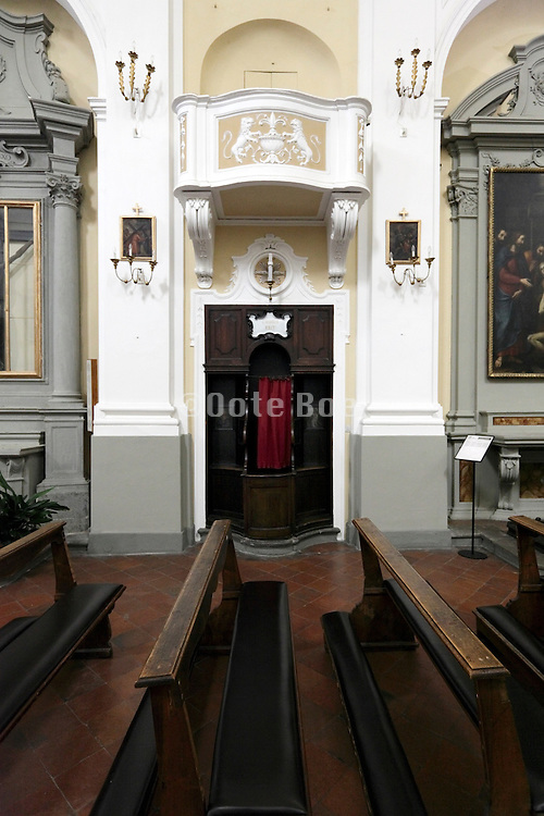 confessional with church benches Italy