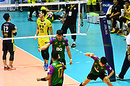 BANGKOK, THAILAND - MARCH 19: Santi Somsuk of Air Force VC #12 reaction after a big point during the 2016–17 Men's Volleyball Thailand League Championship, Chantarubeksa Air Force Stadium, Bangkok, Thailand on March 19, 2017.<br /> .<br /> .<br /> .<br /> (Photo by: Naratip Golf Srisupab/SEALs Sports Images)<br /> .<br /> Any image use must include a mandatory credit line adjacent to the content which should read: Naratip Golf Srisupab/SEALs Sports Images