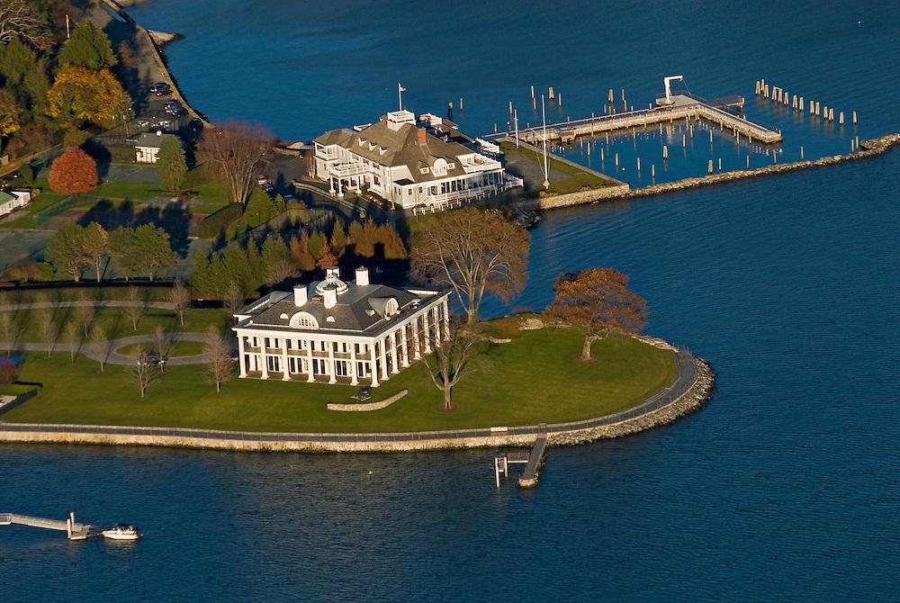 Connecticut, Greenwich, aerial shoreline, mansion