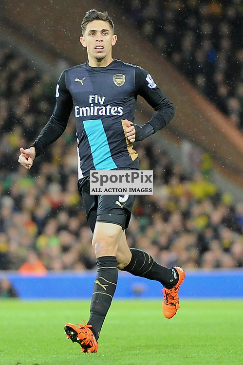 Arsenals Gabriel in action during the Norwich v Arsenal game in the Barclays Premier League on Sunday 29th November 2015 at Carrow Road