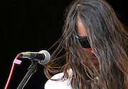 Brian Oblivion of the Cults performs at Central Park SummerStage on August 7, 2011 in New York City.