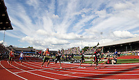 Justin Gatlin celebrates after winning the 100m final during day 3 of the U.S. Olympic Trials for Track & Field at Hayward Field in Eugene, Oregon, USA 24 Jun 2012..(Jed Jacobsohn/for The New York Times)....