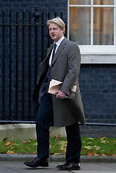 © Licensed to London News Pictures. 26/11/2013. London, UK. Assistant Whip and brother of the Mayor of London, Jo Johnson, arrives for a meeting of British Prime Minister David Cameron's Cabinet on Downing Street in London today (26/11/2013). Photo credit: Matt Cetti-Roberts/LNP