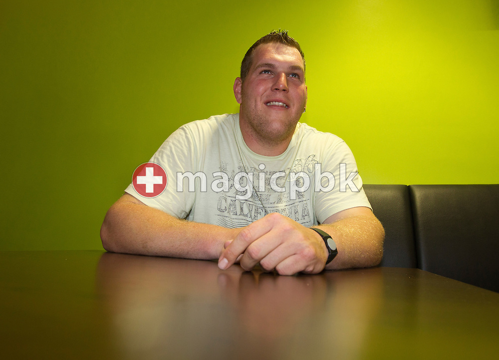 Swiss wrestling star Christian STUCKI of Switzerland is pictured after his weight training at the Arena Fitness in Berne, Switzerland, Thursday, May 26, 2011. (Photo by Patrick B. Kraemer / MAGICPBK)