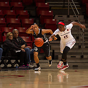 04 November 2016: The San Diego State Aztecs women's basketball team opens up the season with an exhibition against CSU San Marcos. San Diego State guard McKynzie Fort (15) steals the ball from San Marcos guard Dee Arementa (11) in the first quarter. The Aztecs beat the Cougars 74-53 at Viejas Arena Friday night.  www.sdsuaztecphotos.com