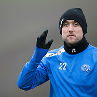 St Johnstone Training....17.01.14<br /> Lee Croft pictured in training this morning ahead of tomorrow's game against Hearts.<br /> Picture by Graeme Hart.<br /> Copyright Perthshire Picture Agency<br /> Tel: 01738 623350  Mobile: 07990 594431