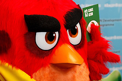 """""""Red"""" from the Angry Birds movie is pictured during the """"Angry Birds for a Happy Planet"""" campaign at the United Nations headquarters in New York, March 18, 2016. UN Secretary-General Ban Ki-moon appointed Red from the Angry Birds as Honorary Ambassador for Green on the International Day of Happiness and encouraged young people to take action on climate change and make the Angry Birds happy. EXPA Pictures © 2016, PhotoCredit: EXPA/ Photoshot/ Li Muzi<br /> <br /> *****ATTENTION - for AUT, SLO, CRO, SRB, BIH, MAZ, SUI only*****"""