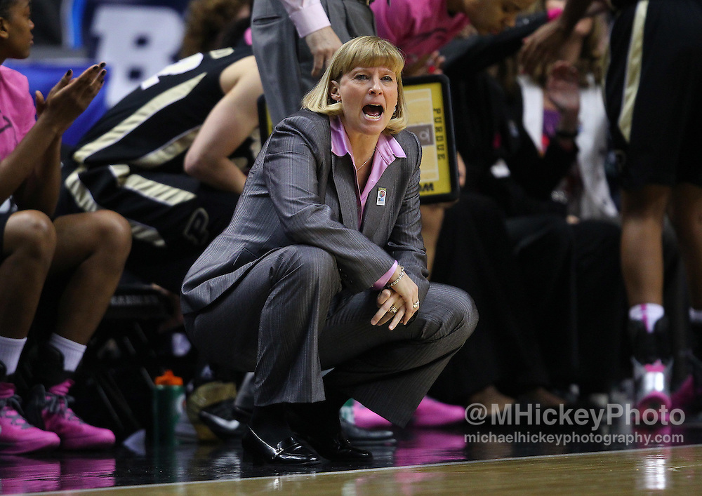 March 03, 2012; Indianapolis, IN, USA; Purdue Boilermakers head coach Sharon Versyp yells at her players from the sidelines against the Penn State Lady Lions during the semifinals of the 2012 Big Ten Tournament at Bankers Life Fieldhouse. Purdue defeated Penn State 68-66. Mandatory credit: Michael Hickey-US PRESSWIRE
