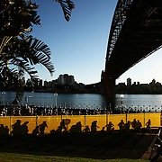 Some of the 5,000 runners make their way under the Sydney Harbour Bridge for the first time, after the early morning start of The Sydney Morning Herald Half-Marathon, a 21.1 kilometre course through the streets of Sydney. Australia.