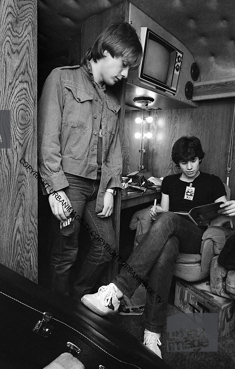 Photograph of U2 - Larry Mullen on the tour bus  - USA tour 1981 Chicago  USA