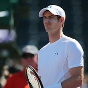 Andy Murray of Great Britain is seen prior to his match against Santiago Giraldo of Columbia at the Miami Open tennis tournament on Sunday, March 29, 2015 in Key Biscayne, Florida. (AP Photo/Alex Menendez)