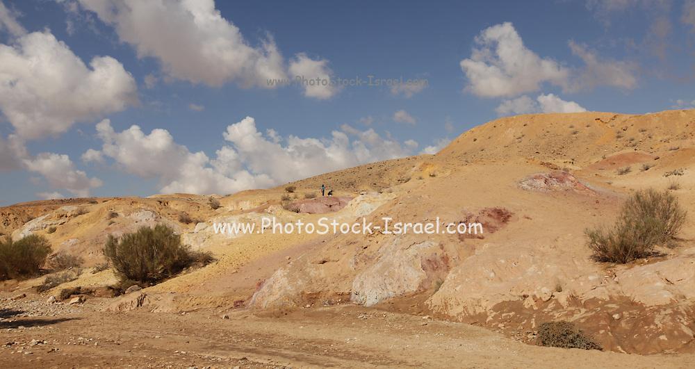 Coloured sand photographed at HaMakhtesh HaGadol (The Big Crater) Negev Desert, Israel. A makhtesh is a geological erosional landform of Israel's Negev desert. It measures 5 x 10 km.