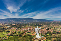 Mirador El Santo and his Jesus statue Villa de Leyva  skyline cityscape Boyaca in Colombia South America