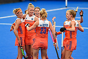 Caia van Maasakker of the Netherlands (13) scores a goal (2-0) and celebrates with team mates during the Vitality Hockey Women's World Cup 2018 Pool A match between the Netherlands and Italy at the Lee Valley Hockey and Tennis Centre, QE Olympic Park, United Kingdom on 29 July 2018. Picture by Martin Cole.