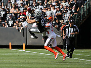 Sep 30, 2018; Oakland, CA, USA;  A pass to Raiders wide receiver Jordy Nelson (82) is broken up by Browns defensive back Terrance Mitchel (39) during a game between the Oakland Raiders and the Cleveland Browns. The Raiders defeated the Browns 45-42 in overtime. Mandatory Credit: Spencer Allen-Image of Sport