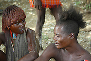 Africa, Ethiopia, Omo River Valley Hamer Tribe Man and woman
