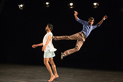 © Licensed to London News Pictures. 21/10/2015. London, UK. The duet NH7 by Bangalore-born Deepak Kurki Shivaswamy is performed by dancers Charan C S (top) and Amaresha Kempanna (bottom). Dance Umbrella presents Out of India: Modern Moves at the Pit Theatre, Barbican Centre, from 21 to 24 October 2015. Photo credit: Bettina Strenske/LNP