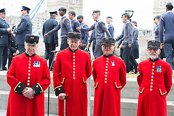 © London News Pictures. 22/06/15. London, UK. Chelsea Pensioners are photographed with Air Cadets behind them at the end of a ceremony to honour UK Armed Forces, Central London. Photo credit: Laura Lean/LNP