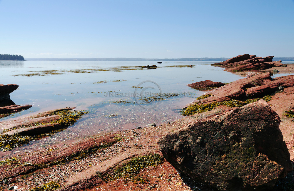 Shoreline of red rocks in St-Andrews Pottery Cove, NB Canada
